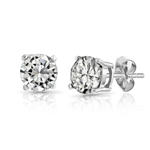 Round Brilliant Cut Stud Style Earrings in Four Prong Basket Style Head