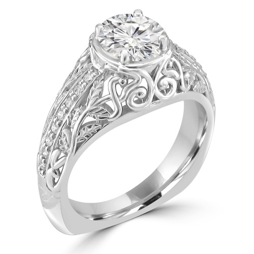 14K White Gold Vintage Inspired Engagement Ring - Nuora Style