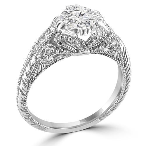 14K White Gold Vintage Inspired Engagement Ring - Shabnam Style