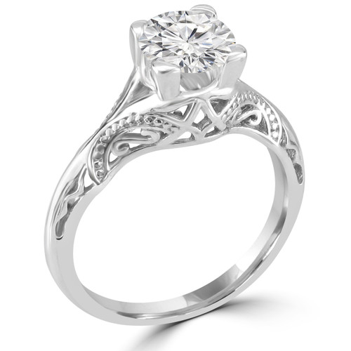 14K White Gold Vintage Inspired Engagement Ring - Nagameh Style