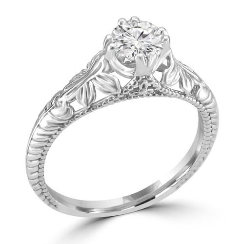 14K White Gold Vintage Inspired Engagement Ring - Anisa Style