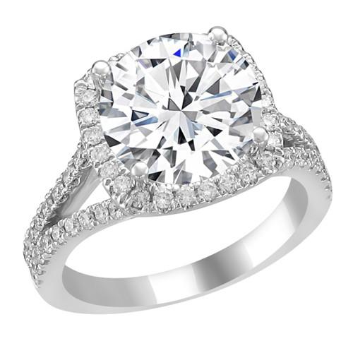 14K White Gold Cushion Halo Engagement Ring - Hera Style