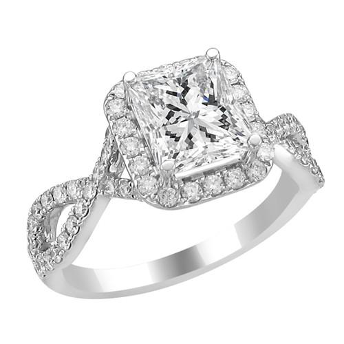14K White Gold Emerald Halo Diamond Engagement Ring - Athena Style