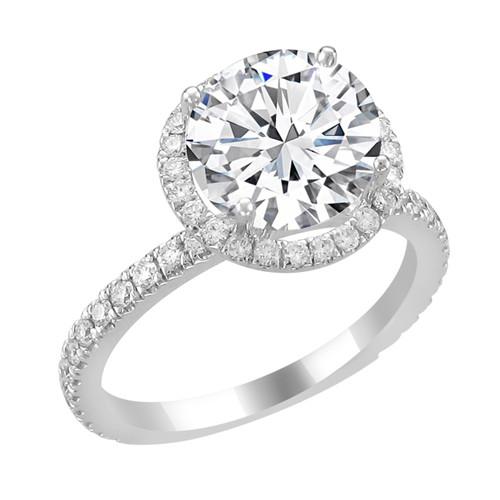 14K White Gold Round Halo Diamond Engagement Ring - Selene Style