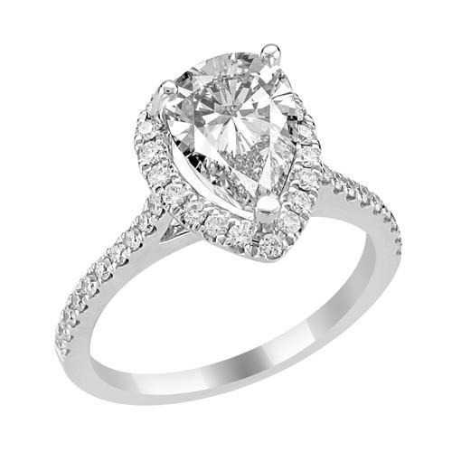 14K White Gold Pear Shape Halo Diamond Engagement Ring - Rhea Style