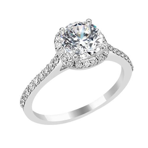 14K White Gold Cushion Halo Diamond Engagement Ring - Tyche Style