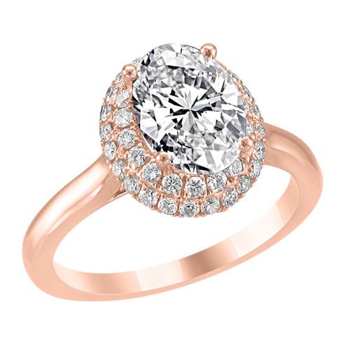 14K Rose Gold Oval Double Halo Diamond Engagement Ring - Iris Style