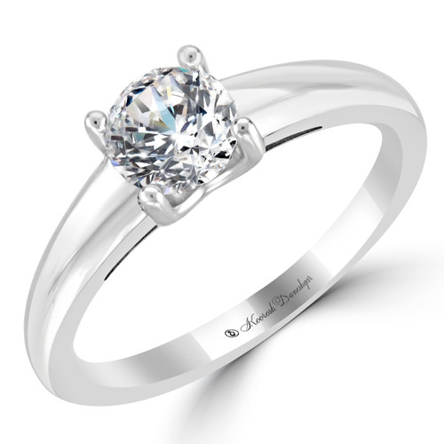 14K White Gold Solitaire Engagement Ring - Alya Style