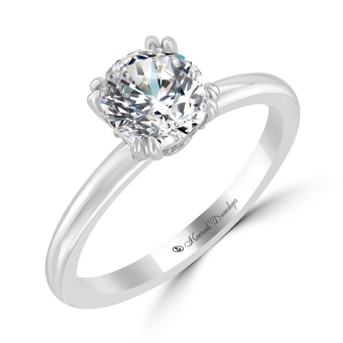 14K White Gold Solitaire Engagement Ring - Lucy Style