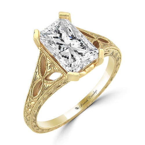 14K Yellow Gold Solitaire Engagement Ring - Capella Style