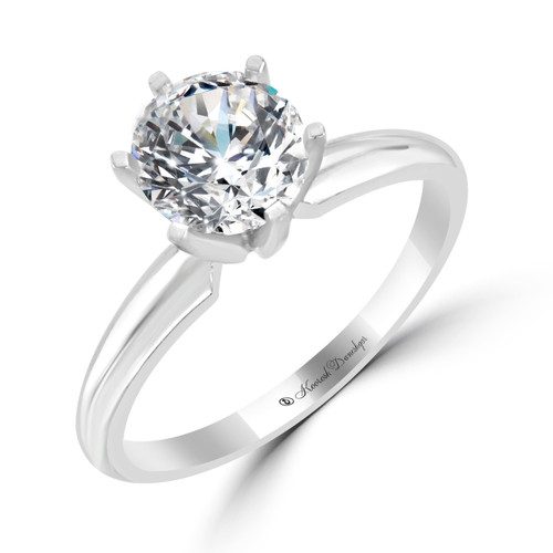 14K White Gold Solitaire Engagement Ring - Maia Style