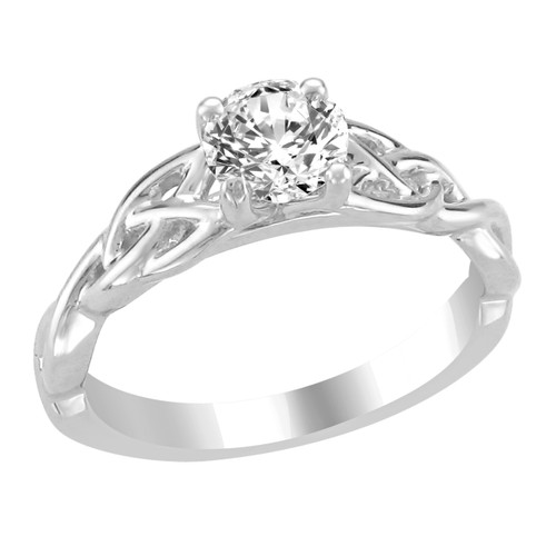 14K White Gold Solitaire Engagement Ring - Mira Style