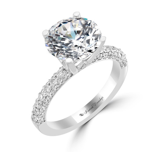 14K White Gold Engagement Ring with Pave Side Accents - Grace Style