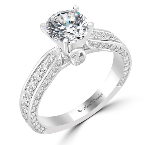 Platinum Engagement Ring with Bead Set Diamond Side Accents - Jane Style
