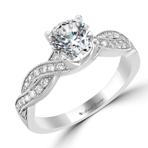 14K White Gold Engagement Ring with Twisted Band - Julie Style