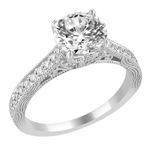14K White Gold Engagement Ring with Bead Set Diamond Side Accent - Marylin Style
