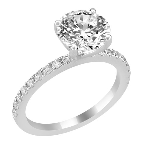 14K White Gold Engagement Ring with Bead Set Diamond Side Accent - Classic Noura Style