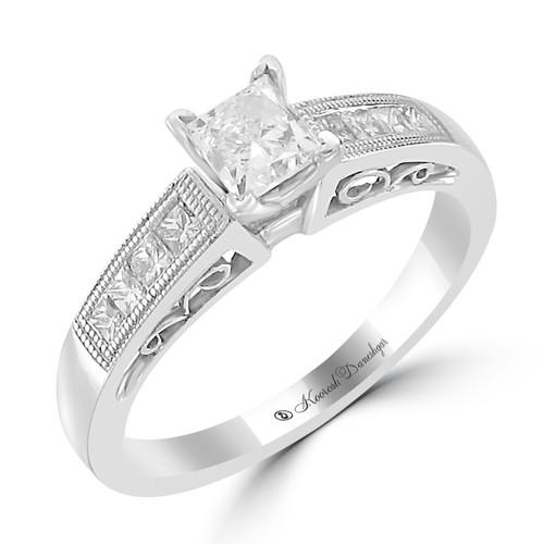 14K White Gold Pre-Set Engagement Ring - Joan Style