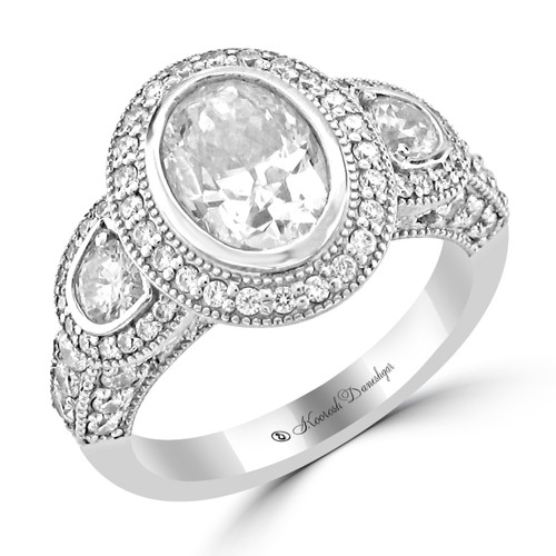 14K White Gold Pre-Set Engagement Ring - Cleopatra Style