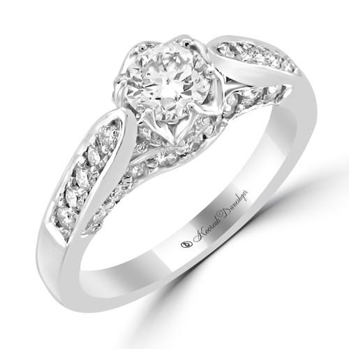 14K White Gold Pre-Set Engagement Ring - Helen Style
