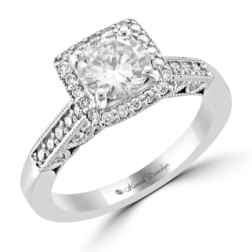 14K White Gold Pre-Set Engagement Ring - Marie Style