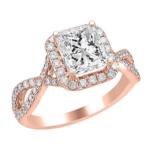 14K Rose Gold Emerald Halo Diamond Engagement Ring - Athena Style