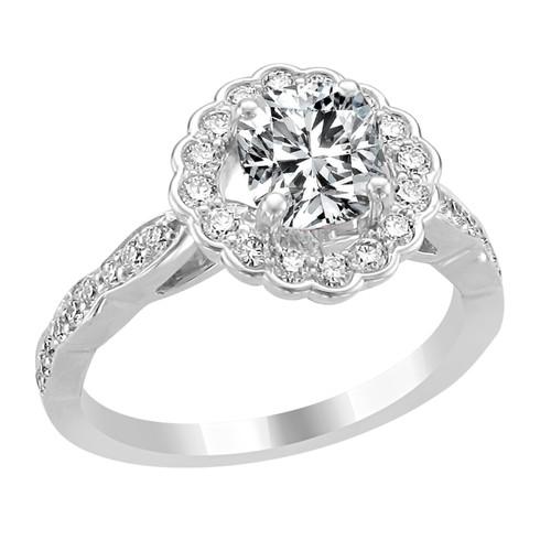 14K White Gold Cushion Halo Diamond Engagement Ring - Eros Style