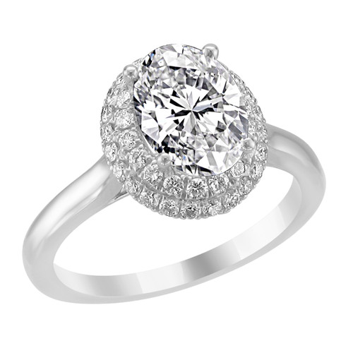 14K White Gold Oval Double Halo Diamond Engagement Ring - Iris Style