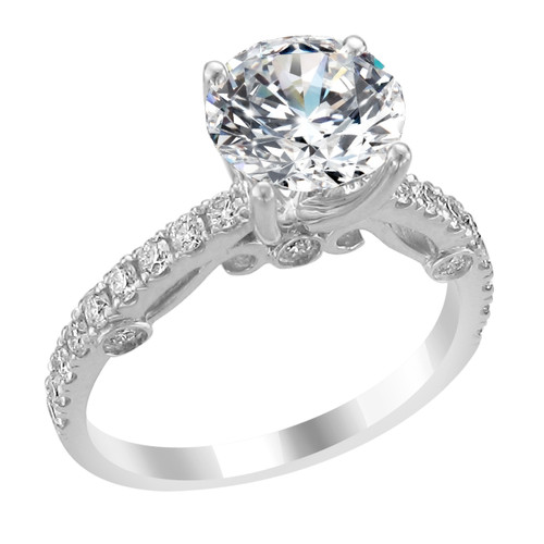 14K White Gold Engagement Ring with Diamonds- Audrey Style