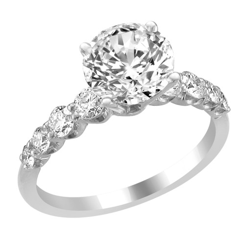 14K White Gold Engagement Ring with Diamond Side Accent - Judy Style