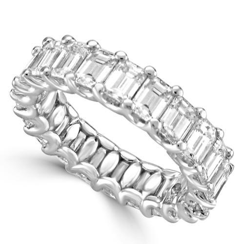 14K White Gold Emerald Cut Diamond Eternity Style in Half Moon Setting Wedding Band