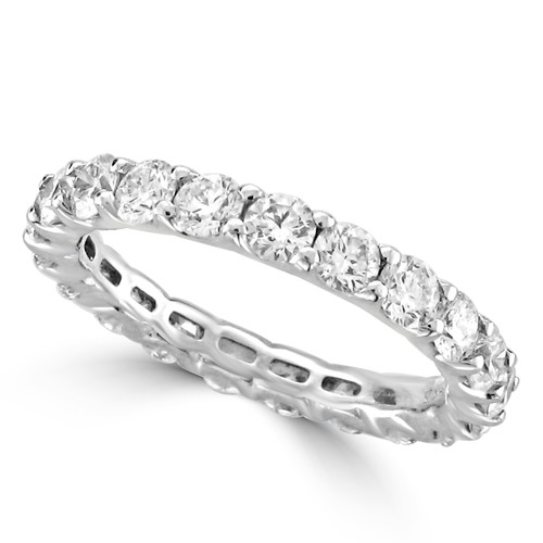 14K White Gold Round Diamond Eternity Style in Half Moon Setting Wedding Band