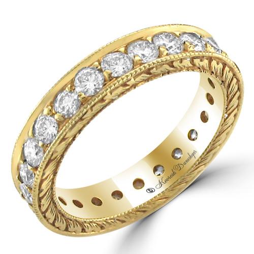 18K Yellow Gold Round Diamond Eternity Style in Bead Setting Wedding Band