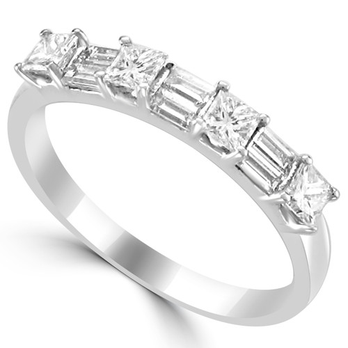 18K White Gold Wedding Band with Princess Cut Diamonds and Baguettes