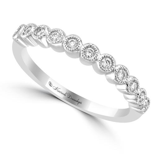 18K White Gold Bezel Set Milgrain Diamond Wedding Band