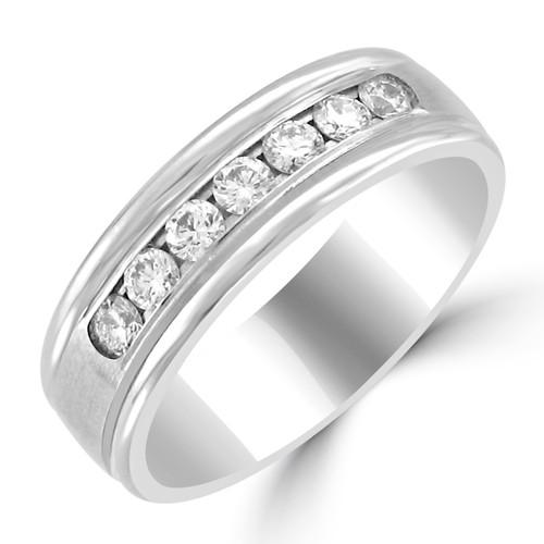 Men's 14K White Gold Round Diamond Channel Set Style Wedding Band