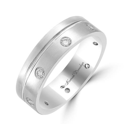 Men's 14K White Gold Round Diamond Eternity Style Wedding Band