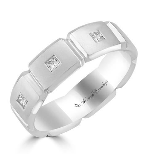 Men's 14K White Gold Princess Cut Diamond Eternity Style Wedding Band