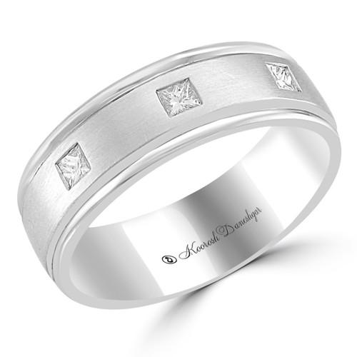 Men's Wedding Band, princess cut wedding rings, white gold, 14 K