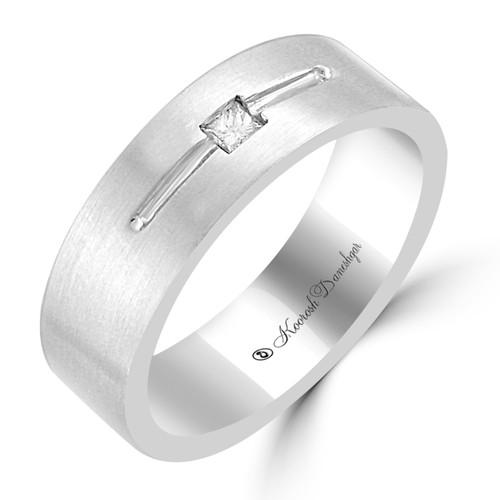 Men's 14K White Gold Flat Style Design with One Princess Cut Diamond