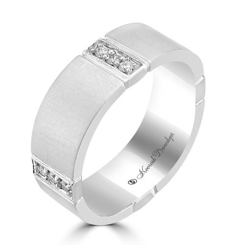 Men's 14K White Gold Diamond Square Eternity Style Wedding Band