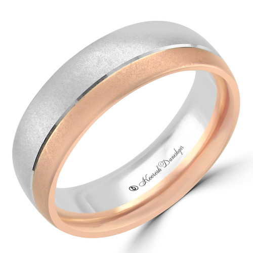 14K White and Rose Gold Two-Tone Carved Wedding Band