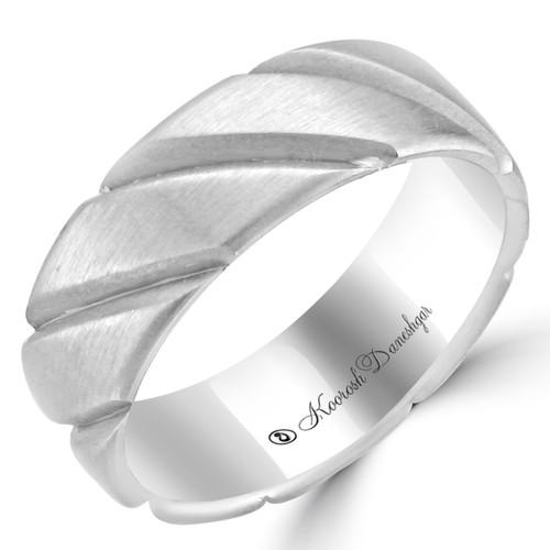 14K White Gold Diagonal Carved Wedding Band