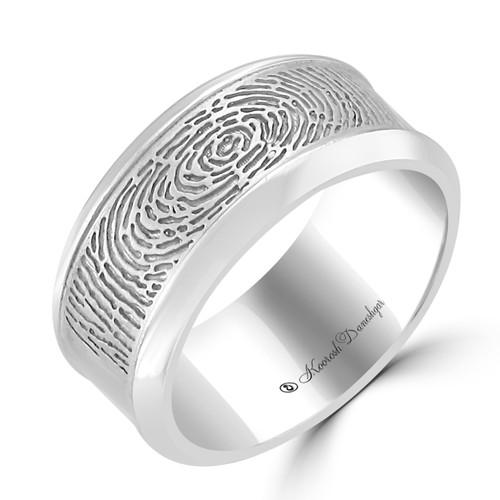 Customizable Fingerprint Carved Wedding Band