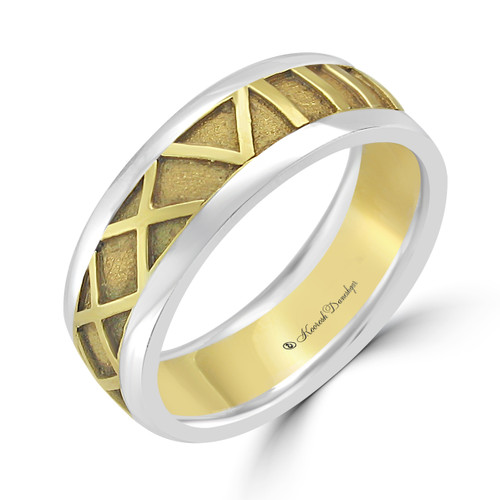 Customizable Roman Numeral Carved Wedding Band