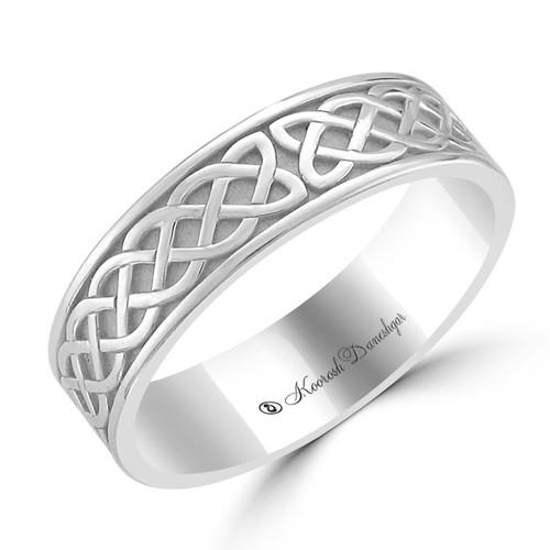 14K White Gold Celtic Design Carved Wedding Band