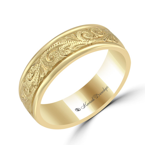 gold wedding band, hand engraved, yellow gold,18 K , hand engraved, chicago best jewelers