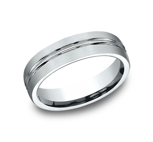 Comfort-Fit, Carved Wedding Band with Satin Finish and a High Polished Cut Along the Center