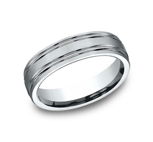 Comfort-Fit, Carved Wedding Band with Satin Finish and 2 Parallel High Polished Cuts