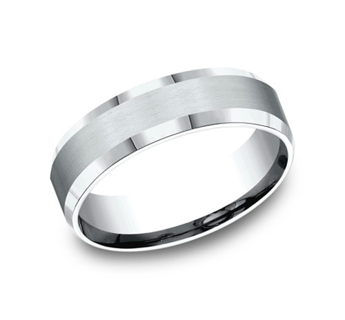 Comfort-Fit, Carved Wedding Band with a Satin Finish Center and High Polished Beveled Edges